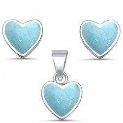 Inner-Schmucksache-Set stellte weiße /Blue/-rosafarbene Opalform-Schmucksachen 925 Sterlingsilber natürliche Larimar Stift-Ohrringe u. Anhänger her, die für Frauen-Zubehör eingestellt wurden