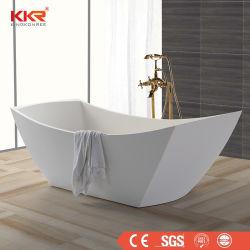 Vasca da bagno diritta libera di bagno della resina di bianco ovale di pietra di marmo della vasca