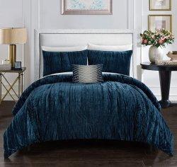كرينكليد ميكرو فيلت - مجموعة غطاء كيلت، أغطية فراش تتضمن غطاء سنادة ديكور، أزرق داكن