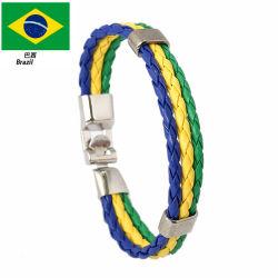 Braccialetto d'imitazione tessuto del cittadino della tazza di mondo del braccialetto della pelle bovina dell'unità di elaborazione del braccialetto del cuoio di colore della bandiera nazionale