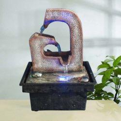 Fontana di acqua da tavolo dell'interno di arte di pietra di Polyresin