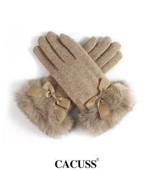 Guanti di lana delle signore, guanti caldi ispessiti pelliccia bella dello schermo di tocco della pelliccia del coniglio