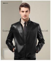 남자를 위한 더하기 크기 고품질 고전적인 호리호리한 진짜 가죽 검정 재킷