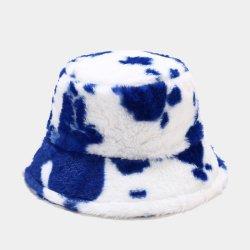 Dvacaman 2021 مصمم فينتاج أزياء زرقاء Furry Cow طباعة الأرنب قبعة شتوية من جرافة الشعر للسيدات في فصل الشتاء