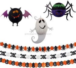 Comercio al por mayor fiesta de Halloween decoración regalo suministros parte-3 trozos de papel de Halloween 3 Piezas de guirnaldas y farolillos, Calabaza Fantasma Murciélago Forma del cráneo de la Araña