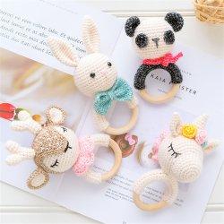 Nieuw ontwerp gevulde Dieren Cute Kawaii Super Soft gebreide konijn Panda Reindier Baby Rattle Crochet pluche Unicorn Toys