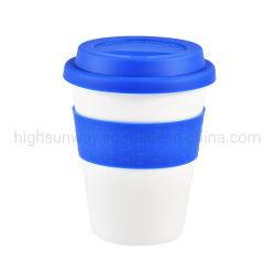 Tasse à café en fibre de bambou écologique, 300 ml, sans BPA, PLA Avec couvercle et manchon en silicone