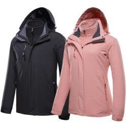 La vendita calda 2 della fabbrica cinese in 1 Windbreaker impermeabile casuale di campeggio delle coperture molli di resistenza del vento e della pioggia del vestito Outwear i vestiti d'escursione degli uomini