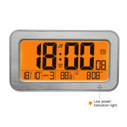 Muti-Fuction de madera con retroiluminación de la pantalla LCD Reloj Despertador de música