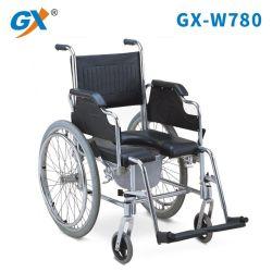 Sedia a rotelle di alluminio piegante del Commode dell'unità di elaborazione per la stanza da bagno