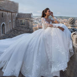 Hwd037 grande queue robe de mariée de nouveau Retro Sexy Tulle encolure en V robe de mariée à manches longues robes de mariée