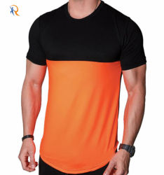 Custom 100% хлопок два тона цветной блок обычных мужчин T футболка