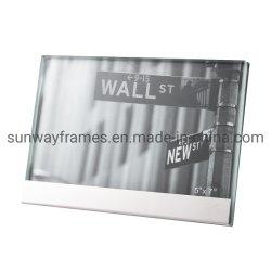 Verre double cadre photo avec base en acier inoxydable