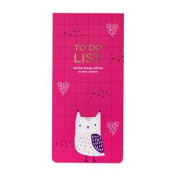 La parte superior del Planificador de abrir el Papel de notas Bloc de notas con el cuaderno diario de la línea de perforado con imán Owl Design
