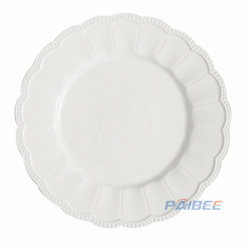 Paibee 13'' de la placa de cargador de un plato de boda elegante plato de porcelana blanca