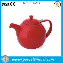 De rode Verglaasde Ceramische Pot van de Thee met Infuser/Ceramische Pot met Roestvrije Infuser