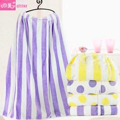 Klm-106 Cheap Wholesale Super Soft Purple oder Yellow Color Striped oder Polka Hot Design Women Bath Skirt Microfiber Bathrobe