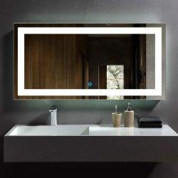 2021 Novo Design 5mm montado na parede Hotel Decoração iluminado espelho 3000K-5000K banheiro espelho LED com desembaciador de espelho com sensor de toque