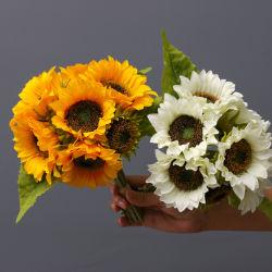 Los Girasoles ramo de flores arreglos artificiales Bouquet boda piezas centrales de la tabla Girasoles artificiales