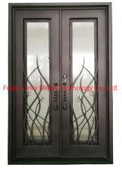 China proveedores forjada de hierro forjado de Doble Entrada Puerta de Entrada de doble ventana de cristal