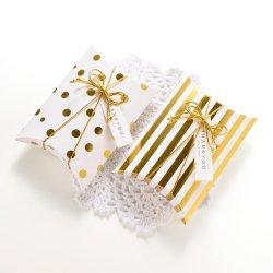 Cioccolato di lusso dell'oro bianco di qualità/piccolo contenitore di carta che impacca, regalo pieghevole BO cuscino della caramella di favore di cerimonia nuziale di figura del cuscino