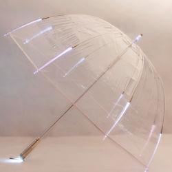 فائرة تصميم [فلش ليغت] شفّافة واضحة عصا مظلة مع [لد] ضوء