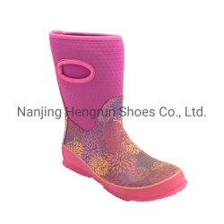 Showy elegante flor rosa Imprimir Neopreno Borracha Quente Calçado de mulheres para o Inverno