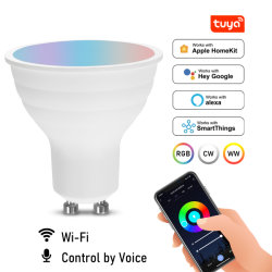 Lampadina Smart Light RGB GU10 da 5 W con controllo vocale e WiFi regolabile Lampada LED Magic AC 220V funziona con Alexa Google Home