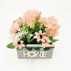 ديكور منزلى حديث وديكور حفلة حرف قرنفل وردى مختلط 2020 زهور بلاستيكية جديدة في مزهرية خشبية مع كلمات منزلية