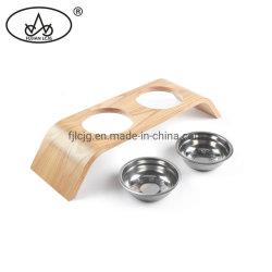 Ciotole di legno dell'animale domestico dei cassetti dell'alimento di gatti del piccolo salice multifunzionale su ordinazione dei rifornimenti