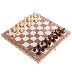 3 in 1 접이식 목조 체스 보드 게임, 여행 게임, 엔터테인먼트 게임