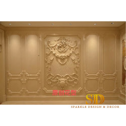 Villa de lujo decoración mural interior del Palacio de tallado de mármol beige talla de piedra Paneles Los paneles de pared Arte en venta