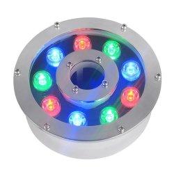 DMX512 modulo di controllo RGB 9W luci LED subacquee rotonde CC Lampada da esterno per laghetti da 24 V.