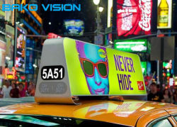 De mobiele LEIDENE van de Taxi van het Teken van het Kabinet P5/P3 van het Aluminium Tweezijdige VideoSchermen van de Reclame