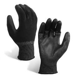Guantes de poliéster negro palma recubierta de poliuretano PU mano Guantes de trabajo para la Inspección General