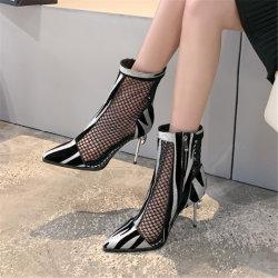 얇은 발뒤꿈치 봄 샌들이 여자 단화 여름에 의하여 형식 금속 발뒤꿈치 다이아몬드 구두를 신긴다