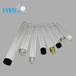 Échantillon gratuit en verre borosilicaté à fond plat de tube à essai avec bouchon à vis en aluminium