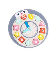 Juguetes de madera y el bebé los juguetes de fábrica del fabricante de reloj de madera rompecabezas con forma de pingüino para niños y los niños