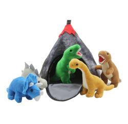記憶袋が付いているおもちゃをしている卸し売り恐竜の漫画ペットプラシ天のトイドッグ