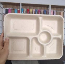 お洒落なシュガーケーンベーガッセランチボックスは堆肥化された生分解性食器を取り出します