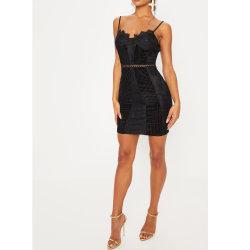 Lace Hollow اللباس المناسب السيدات مثير أزياء بودسن السوداء
