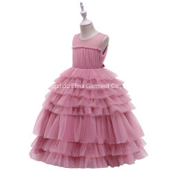 Ropa para bebés Puffy Girls Party Garment Ball Gown Princess Frock Vestido largo dulce con encaje