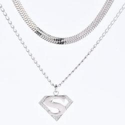 """Новейшие рисунком """"елочкой"""" двойной слой ожерелье с Super S письмо подвесной кронштейн из нержавеющей стали для ювелирных изделий моды аксессуары"""
