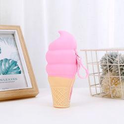 Sh1574 아이스크림 모양 펜 상자 여자 묵 지갑이 다채로운 소형 지갑 동전 실리콘 연필 주머니에 의하여 농담을 한다