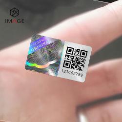 Diseño de stock de seguridad láser 3D Anti-Fake Holograma de etiqueta con la impresión de códigos QR