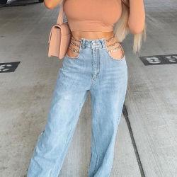 Las mujeres personalizado prendas de vestir Pantalon recto de cintura alta sexy señoras Augurio Jeans