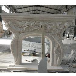Lado esculpidas em mármore branco lareira de pedra com esculturas de flores