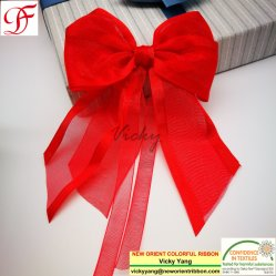 /Bowのための卸売かFactory/OEMによって印刷されるナイロンによって編まれるサテンの端のオーガンザのリボン包むか、またはギフトまたは衣服またはXmas