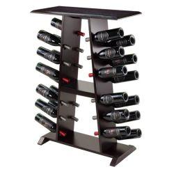 Rustikale Wein-Zahnstangen-an der Wand befestigter hölzerner Wein-Flaschen-Halter-u. Bildschirmanzeige-vertikaler Wein-Zahnstangen-Organisator-Stab