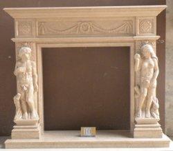 Marbre/granit blanc de style européen cheminée en pierre électrique
